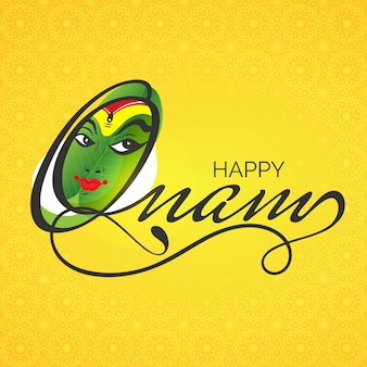 Kathakali danseur visage avec texte stylé happy onam.