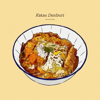 Katsudon est une cuisine japonaise populaire, vecteur de croquis de dessin à la main.