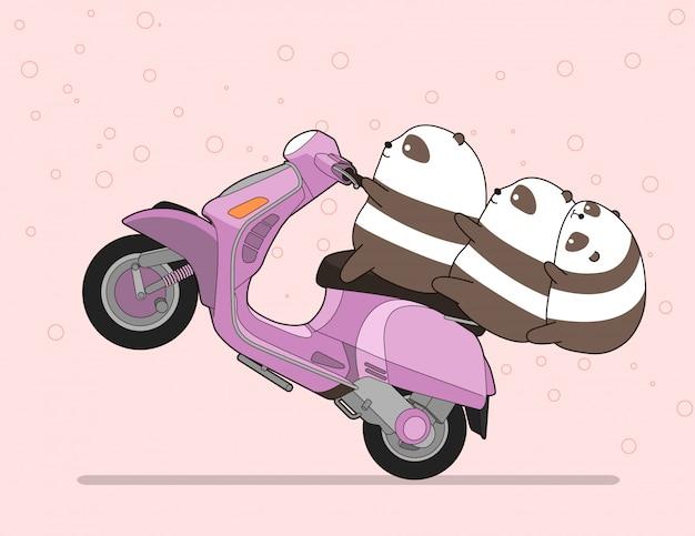 Kawaii 3 pandas fait de la moto.
