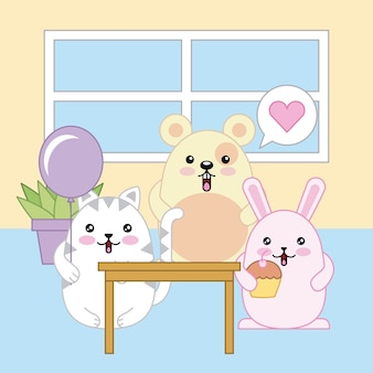 Kawaii adorable fête chat lapin souris souris dessin animé animal célébration