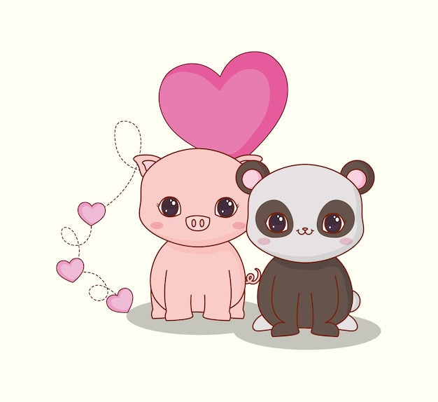 Kawaii animaux et amour