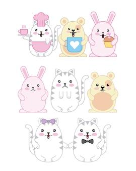 Kawaii animaux souris chaton et dessin animé de lapin