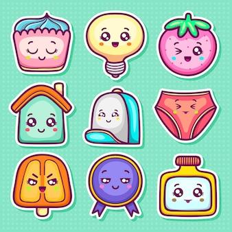 Kawaii autocollant icônes coloriage doodle dessiné à la main
