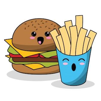 Kawaii burger français frites image