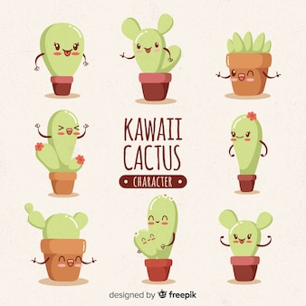 Kawaii cactus collection dessinée à la main
