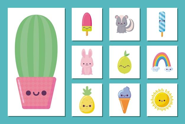 Kawaii cactus et icon set dessins animés