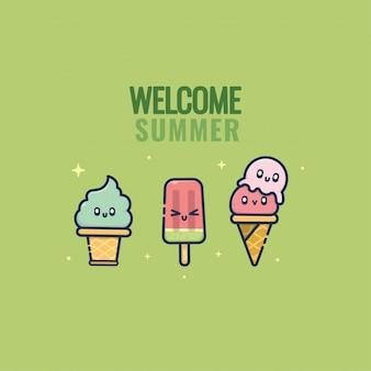 Kawaii de caractère d'été de crème glacée