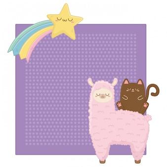 Kawaii de chat avec dessin animé de lama