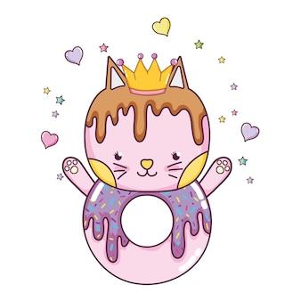 Kawaii chat donut avec coeurs et sars