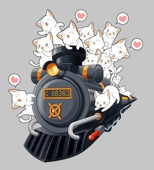 Kawaii chats sur la locomotive dans un style bande dessinée.