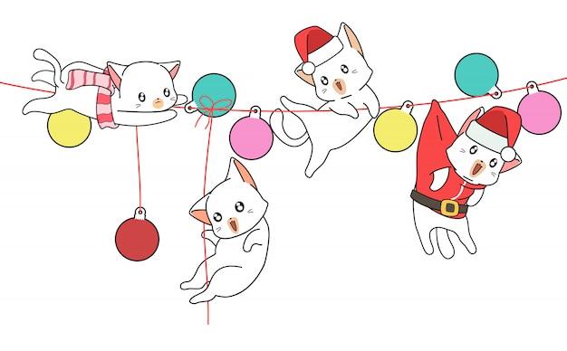 Kawaii chats sur la toile avec des balles