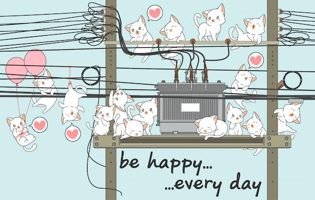 Kawaii chats avec le transformateur