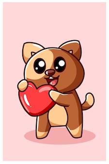 Kawaii et chien drôle montrent son coeur, illustration de dessin animé de la saint-valentin