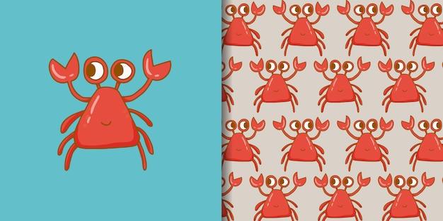Kawaii crab cartoon style dessiné à la main