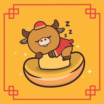Kawaii cute animal buffalo illustration de mascotte du nouvel an chinois