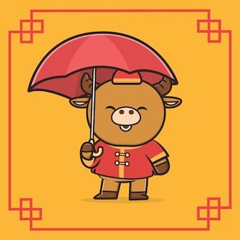 Kawaii cute animal buffalo nouvel an chinois icône mascotte illustration
