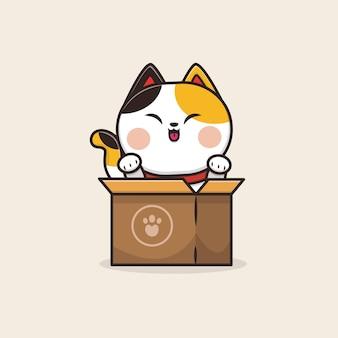 Kawaii cute animal cat neko kitten icône mascotte illustration