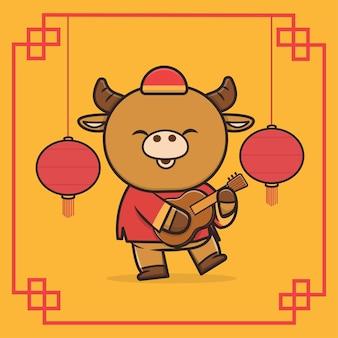 Kawaii cute animal wildlife nouvel an chinois buffalo icon mascotte illustration