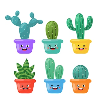 Kawaii cute cactus cartoon isolé