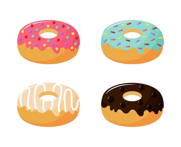 Kawaii cute donel donuts caricature de desserts d'été sucrés