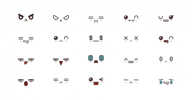 Kawaii cute faces smile emoticons. emoji japonais