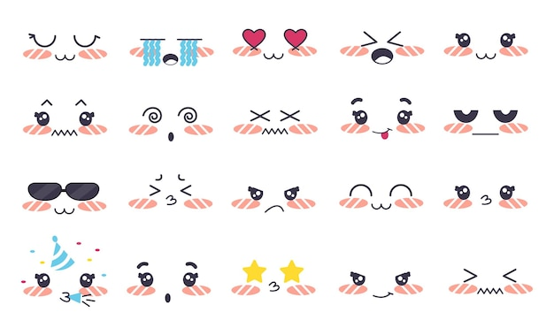 Kawaii cute faces style manga dans différentes expressions grand ensemble