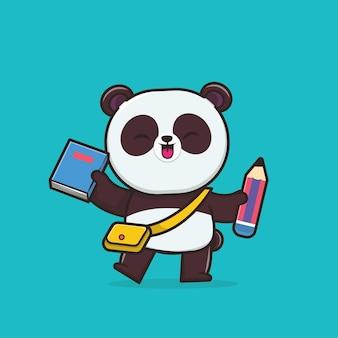 Kawaii cute panda retour à l'école
