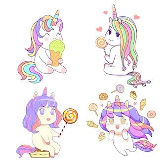 Kawaii cute unicorn friends with ice cream, sweet dessert pastel color, comic style set