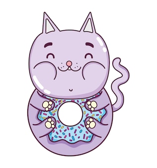 Kawaii délicieux beignet chat drôle