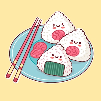 Kawaii délicieux japonais umeboshi onigiri nourriture