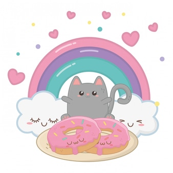 Kawaii de dessin animé de chat
