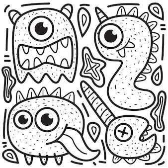 Kawaii dessin animé doodle design illustration de monstres à colorier