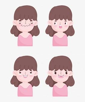 Kawaii dessin animé fait face à des expressions mignonnes de petite fille brune