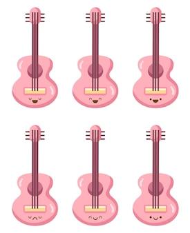 Kawaii de dessin animé de guitare rose isolé sur blanc