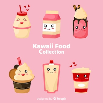Kawaii dessiné main souriant collection de plats sucrés