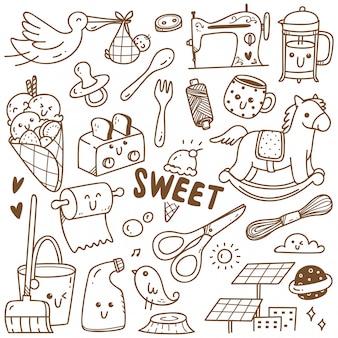 Kawaii doodle collection de dessins au trait, convient à la coloration