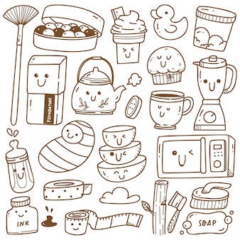 Kawaii doodle collection de dessins au trait, convient à la coloration