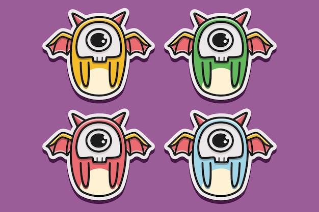 Kawaii doodle illustration de conception de monstre de personnage de dessin animé
