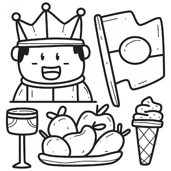 Kawaii doodle roi dessin animé