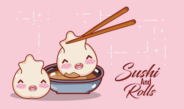 Kawaii dumpllings sauce and baguettes nourriture dessin animé japonais, sushi et petits pains