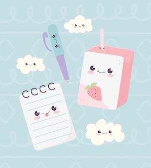 Kawaii école bloc-notes stylo et jus boîte nuages personnage dessin animé