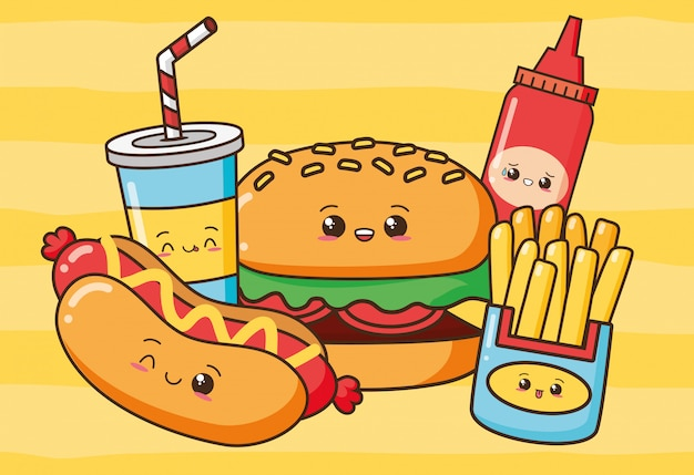 Kawaii fast food mignon fast-food hot-dog, hamburger, frites, boisson, illustration de ketchup