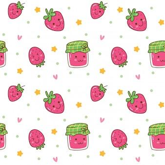 Kawaii fond sans couture avec de la confiture de fraises