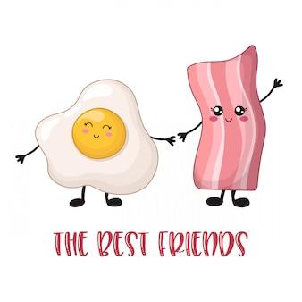 Kawaii food cartoon - bacon et œufs brouillés