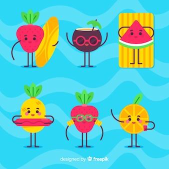 Kawaii fruits d'été set