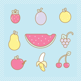 Kawaii fruits set
