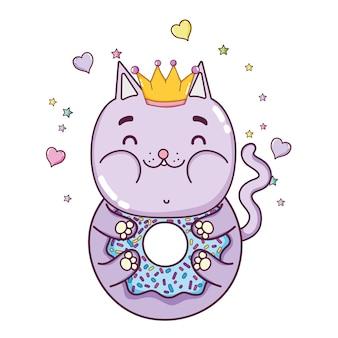 Kawaii funny cat beignet avec des coeurs et des étoiles