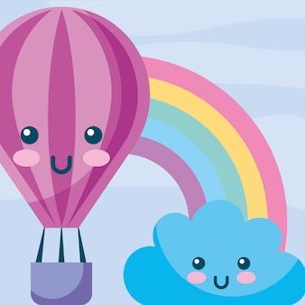 Kawaii hot air balloon nuage arc en ciel dessin animé