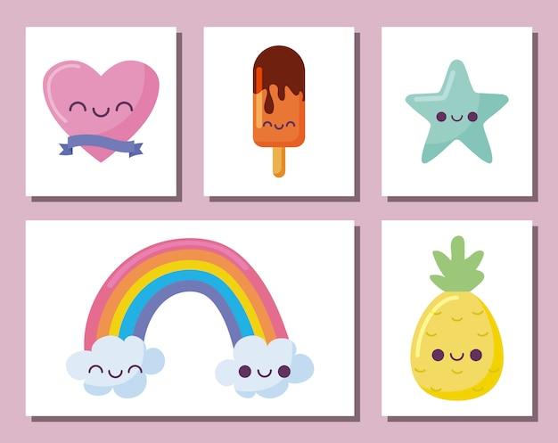 Kawaii icon set cartoons