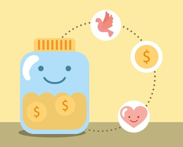 Kawaii jar verre pièces argent amour coeur charité